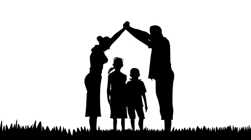 family, silhouette, prayer